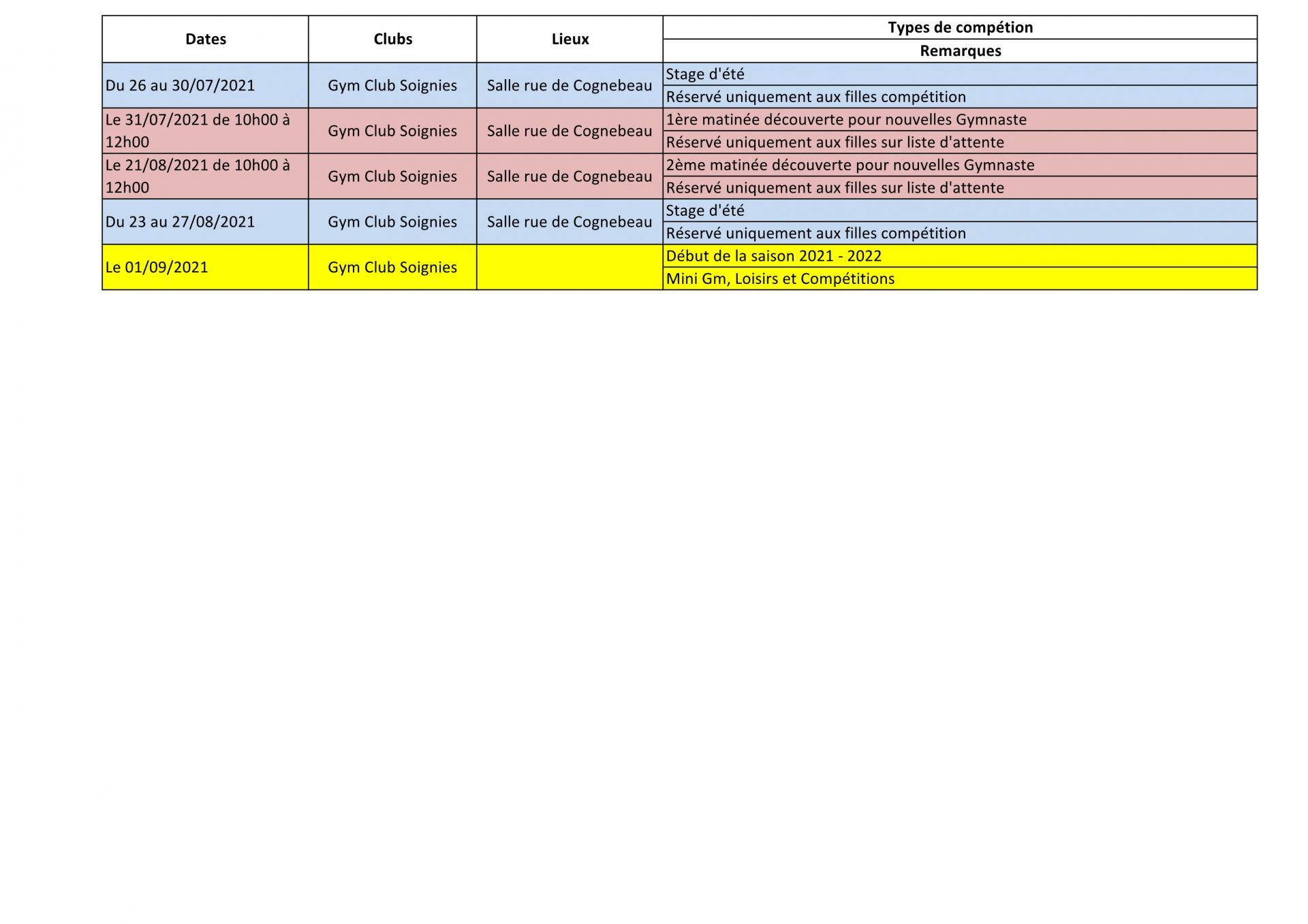Planning juillet aout